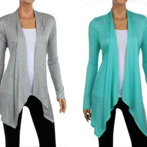 2-Pack Women's Spring Draped Cardigan Open Front